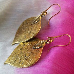 Leaf Golden Unique Earrings New